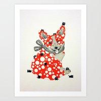 corgi Art Prints featuring Corgi. by ruffgaws