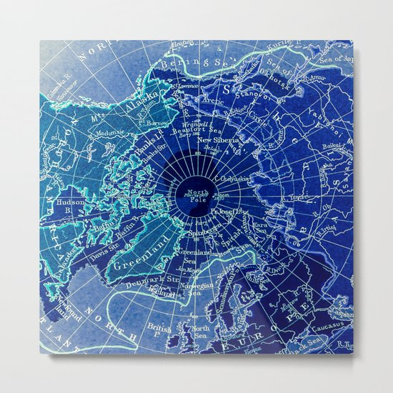 North Pole Neon Map Metal Print