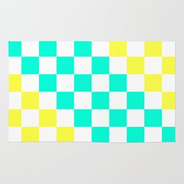 Cheerful Aqua & Yellow Checkerboard Pattern Rug