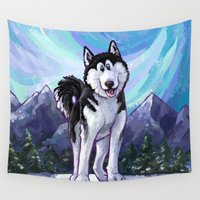 husky Wall Tapestries featuring Animal Parade Husky by Imagine That! Design