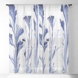 Painted Flowers In Blue Sheer Curtain