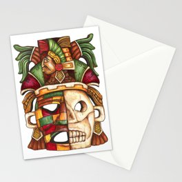 Carved Mayan Life and Death Mask acrylic painting Stationery Cards