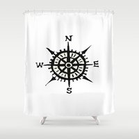 compass Shower Curtains featuring COMPASS by MrWhite