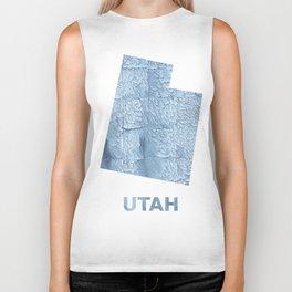 Utah map outline Light steel blue blurred wash drawing Biker Tank