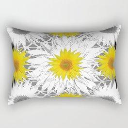 Decorative B&W Yellow-White Sunflowers Rectangular Pillow