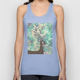 white tailed deer, white breasted nuthatches, & dogwood blossoms Unisex Tank Top