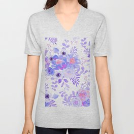 Lilac lavender violet pink watercolor elegant floral Unisex V-Neck