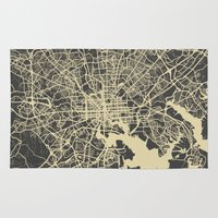 baltimore Area & Throw Rugs featuring Baltimore map by Map Map Maps