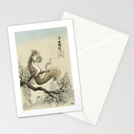 Woodblock Squirrel Stationery Cards