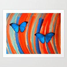 Blue Morphos on # 4 Art Print