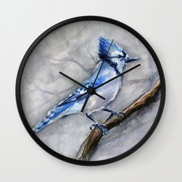 Blue Jay Watercolor Bird Wall Clock
