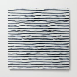 Simply Shibori Stripes Indigo Blue on Lunar Gray Metal Print