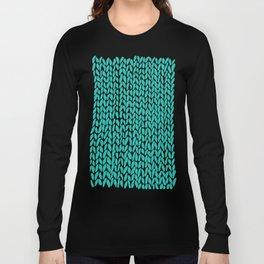 Hand Knit Aqua Long Sleeve T-shirt