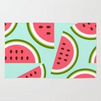 watermelon Area & Throw Rugs featuring Watermelon by Cute Cute Cute