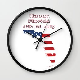 Happy Florida 4th of July Wall Clock