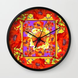 ART DECO ORANGE-RED POPPIES DECORATIVE  PATTERNS Wall Clock