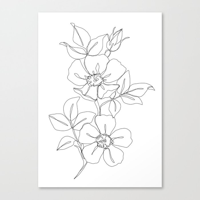 Floral One Line Drawing Rose Canvas Print By