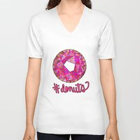 donuts V-neck T-shirts featuring #donuts by Stephanie Jett