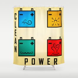 Power Clean Shower Curtain