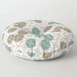 Geometric Octagon and Square Shapes Line Art Jade Green Tobacco Brown Beige Gray Floor Pillow