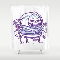 skeletor Shower Curtains featuring Cheeseburger Skeletor by Philip Tseng