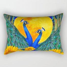 BLUE PEACOCKS MOON & FLOWERS FANTASY ART Rectangular Pillow