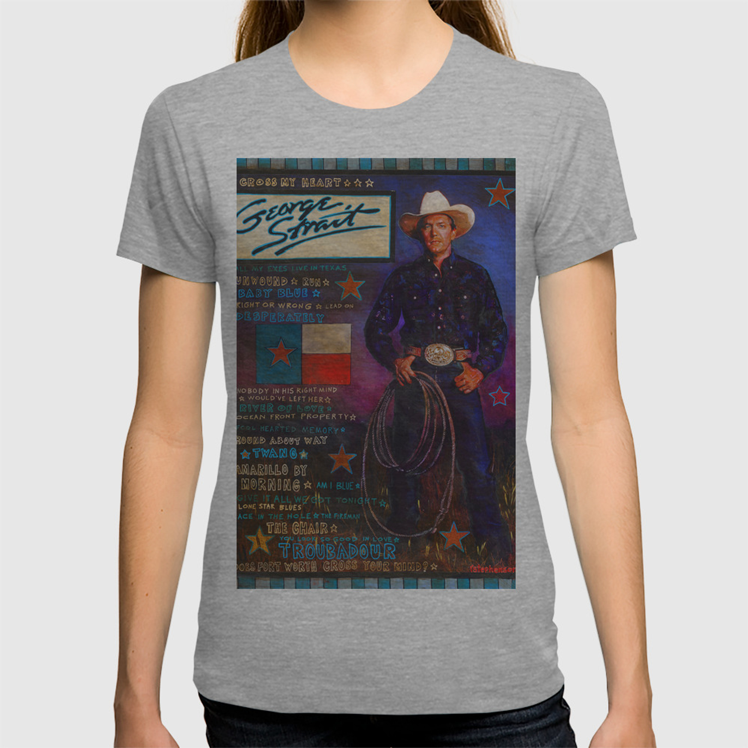6eec52c6 George Strait T-shirt by raystephenson   Society6