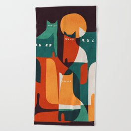 Cat Family Beach Towel