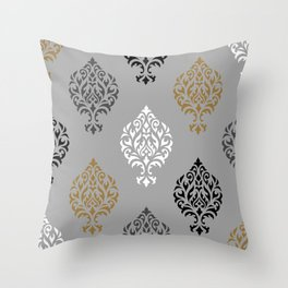 Orna Damask Ptn BW Grays Gold Throw Pillow
