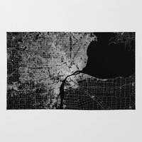 detroit Area & Throw Rugs featuring Detroit map  by Line Line Lines