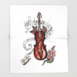 Brown Violin with Notes Throw Blanket