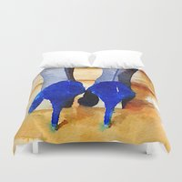heels Duvet Covers featuring High Heels by Charming Ink