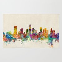 houston Area & Throw Rugs featuring Houston Texas Skyline by artPause