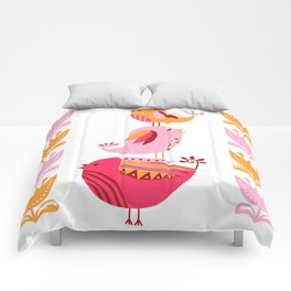 Happy Pink And Orange Birds And Blooms Comforters