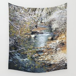 A Creek on a Snowy Day in Boulder, Colorado II Wall Tapestry