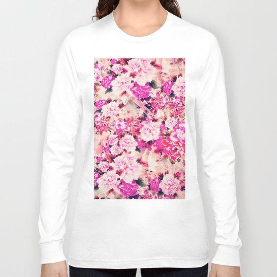 Elegant Pink Chic Floral Pattern Girly Peonies Long Sleeve T-shirt