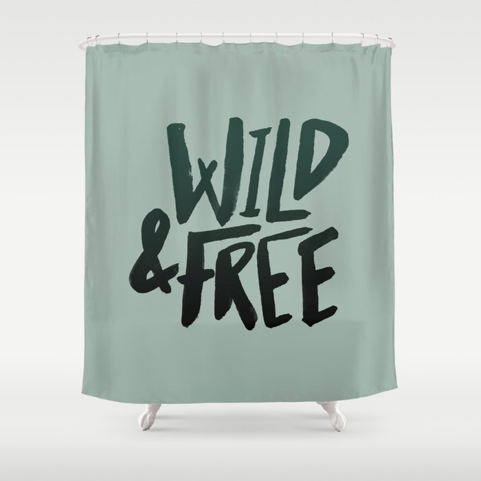 Wild Free X Olive Green Shower Curtain