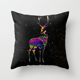The Acid Space Deer Throw Pillow