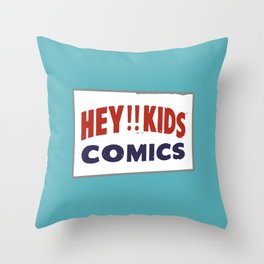 Hey Kids! Vintage Comic Spinner Rack Sign Throw Pillow