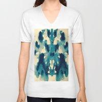 batik V-neck T-shirts featuring BATIK BLUE  by LA BOITE À POUE / Helene Favreau