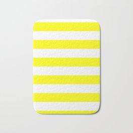 Horizontal Stripes - White and Yellow Bath Mat