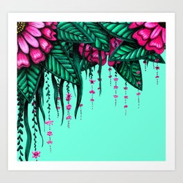 Beautiful Bold Pink Green Delicate Hanging Flowers Art Print
