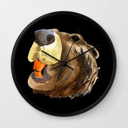 Painted beaver head with orange teeth design - razor sharp iron teeth - Watercolor wildlife artist Wall Clock