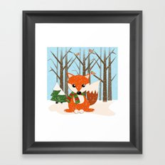 Cute winter fox with a red / green scarf, Framed Art Print
