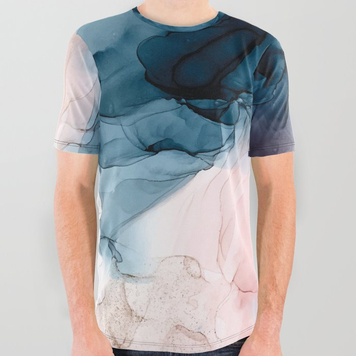 Pastel Plum, Deep Blue, Blush and Gold Abstract Painting All Over Graphic Tee