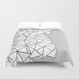 Abstraction Outline Grid on Side White Duvet Cover
