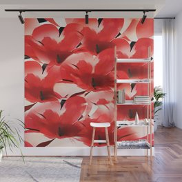 Red Poppies - Painterly Wall Mural