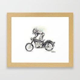 Retro Moto Girls - Kickstart Framed Art Print