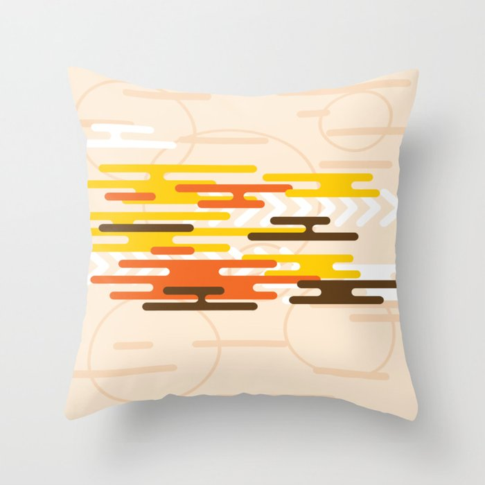 Red Yellow And Black On A Pale Peach Background Abstract Art Throw