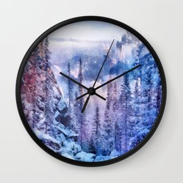Winter forest in the mountains II Wall Clock